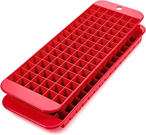 Mini ice cube trays – 2 pack – 90 square Molds – Twist to Release – Dishwasher Safe – Stackable and Odor Free Trays - Does Not Crack While Freezing – Red