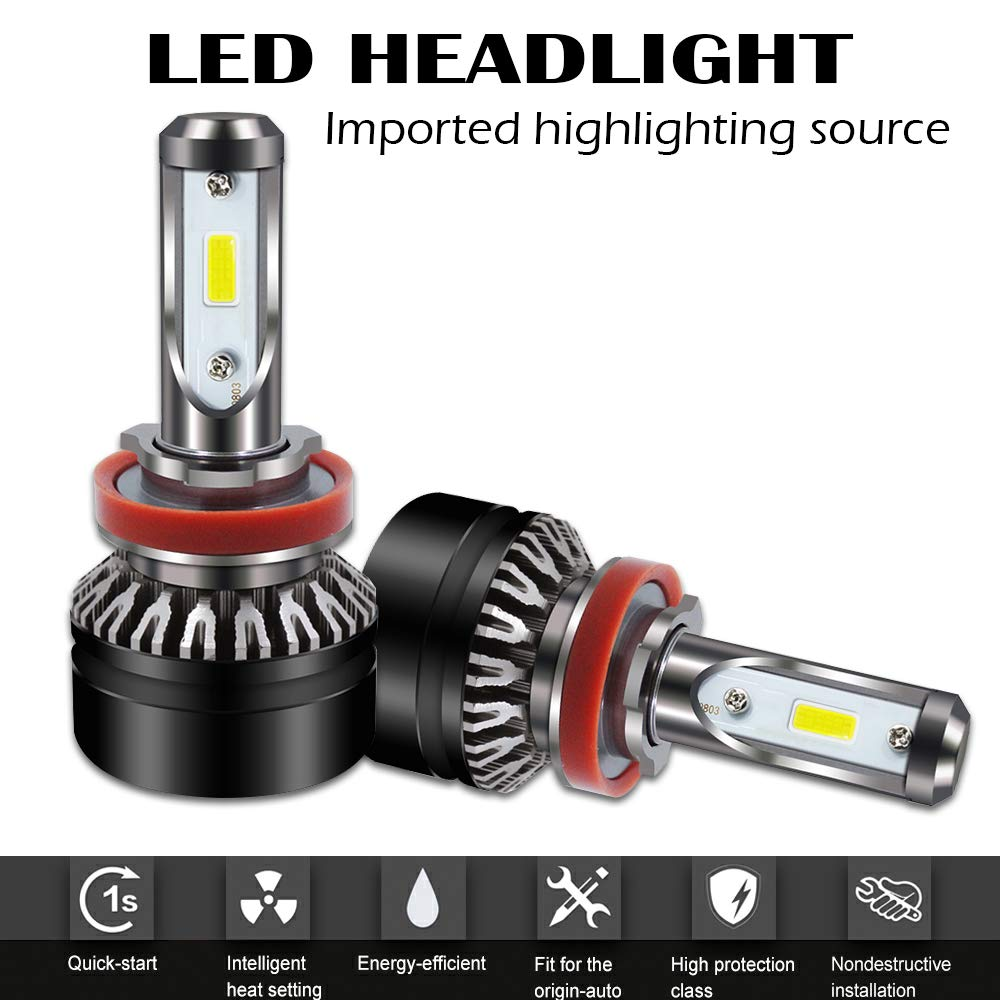 AUSI DOT Approved H7 LED Headlight Bulbs, 6500K Extremely Bright All-in-One Conversion Kit, 360 Degree Adjustable Beam Angle -1 Year Warranty, 2PCS