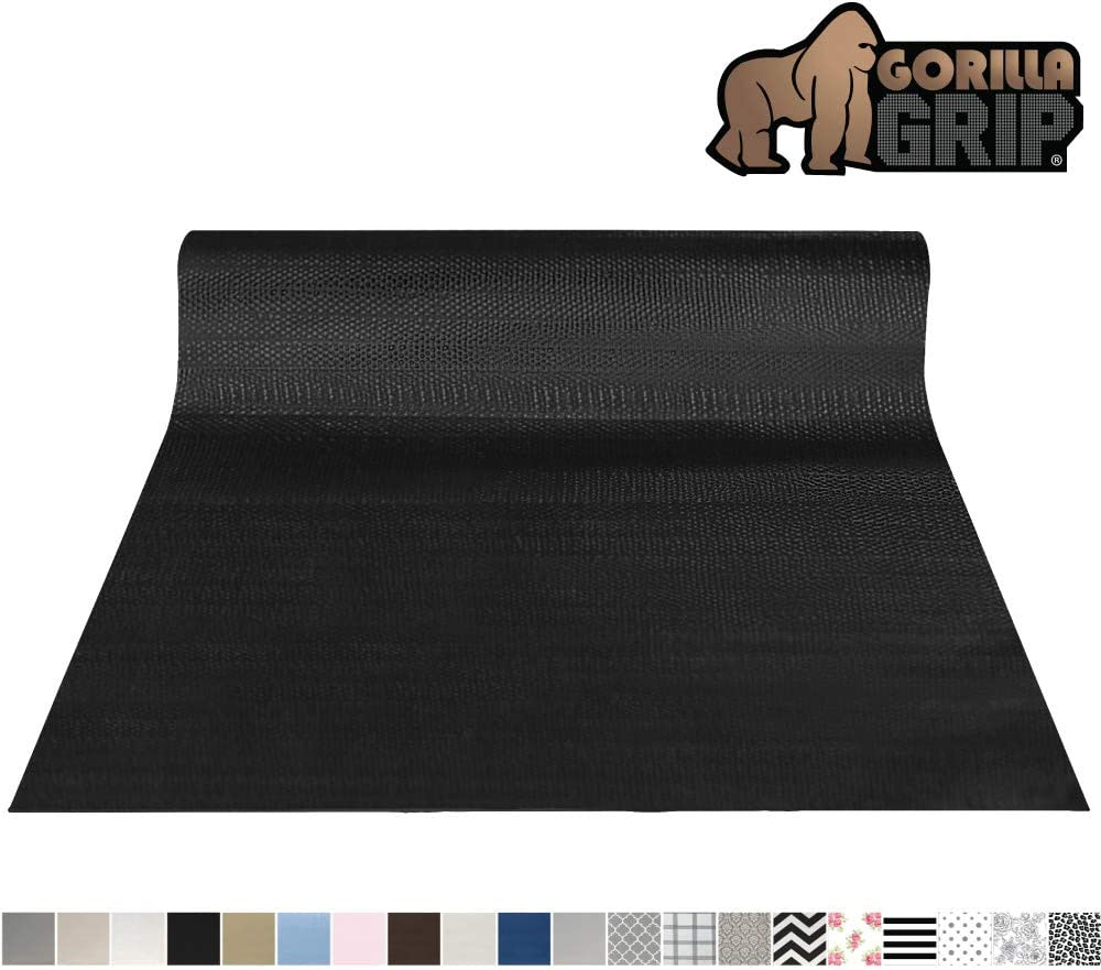 Gorilla Grip Original Smooth Top Slip-Resistant Drawer and Shelf Liner, Non Adhesive Roll, 17.5 Inch x 20 FT, Durable Kitchen Cabinet Shelves Liners for Kitchens Drawers and Desks, Black