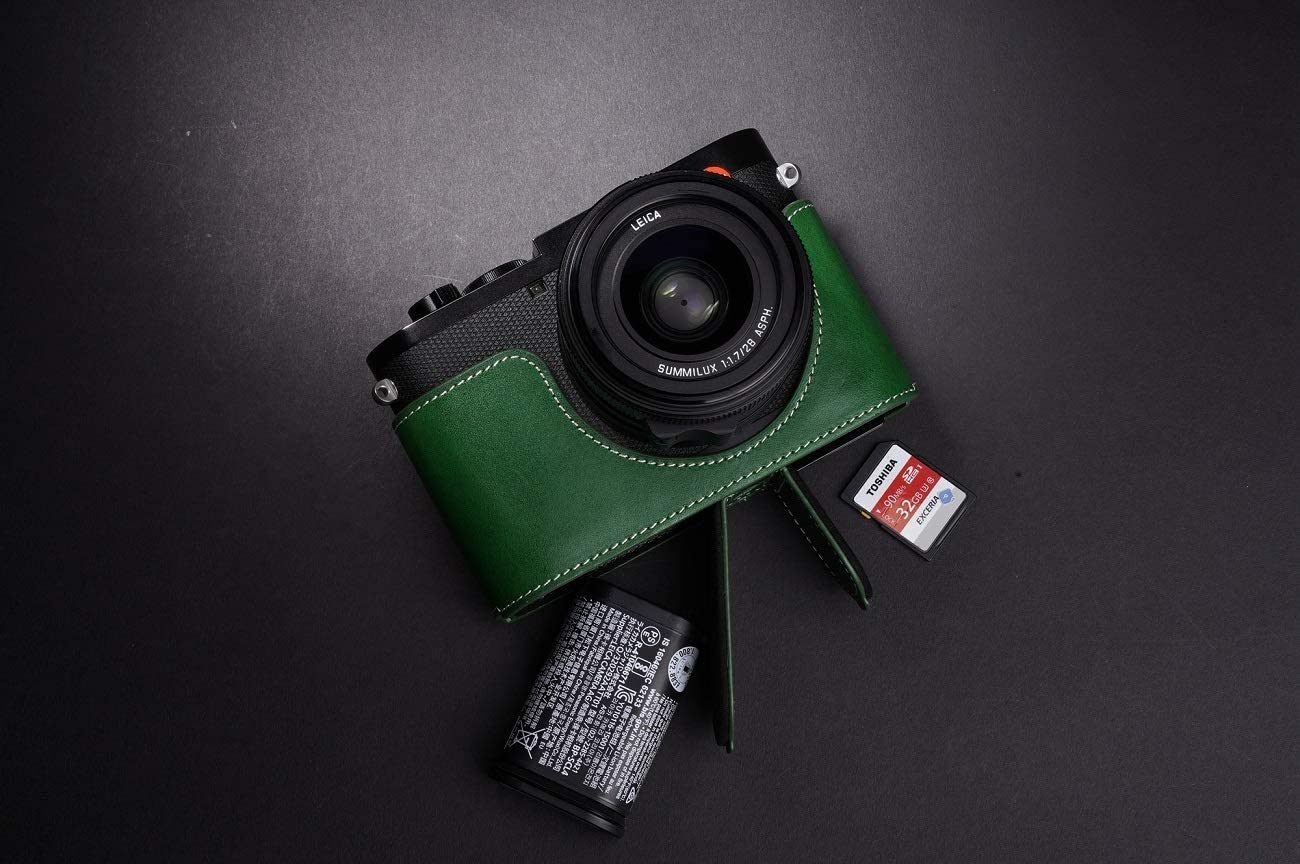 Handmade Genuine Real Leather Half Camera Case Bag Cover for Leica Q2 Rufous Color