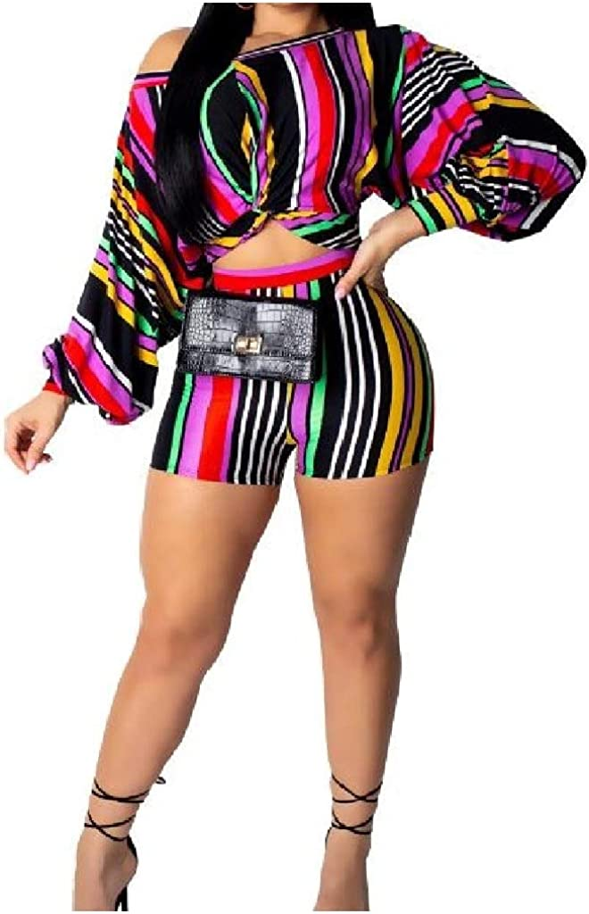 Comaba Womens Two Pieces Multicolor Striped Printed Long Sleeve Short Jumpsuit