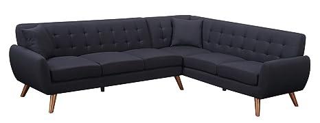 Sofá esquinero de estilo escandinavo de tela negra y patas ...