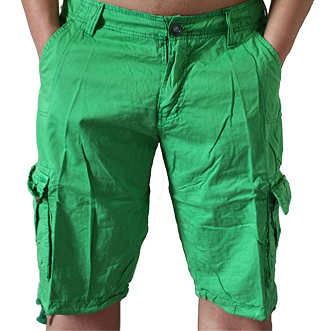 6534383e9b Image Unavailable. Image not available for. Color: ZOOB MILEY Mens Casual  Loose Fit Cargo Shorts Solid Multi-Pocket Plus Size Green Tag