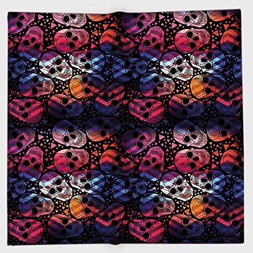 iPrint Polyester Bandana Headband Scarves Headwrap,Halloween,Mexican Sugar Skulls Stylized Digital Polygonal Geometric All Saint Day Display Decorative,Multicolor,for Women -