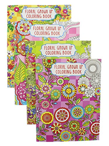 Adult Coloring Books Set of 4 (23 Pages Each) - Floral Grown Up Meditative (Gross Anatomy Coloring Book compare prices)