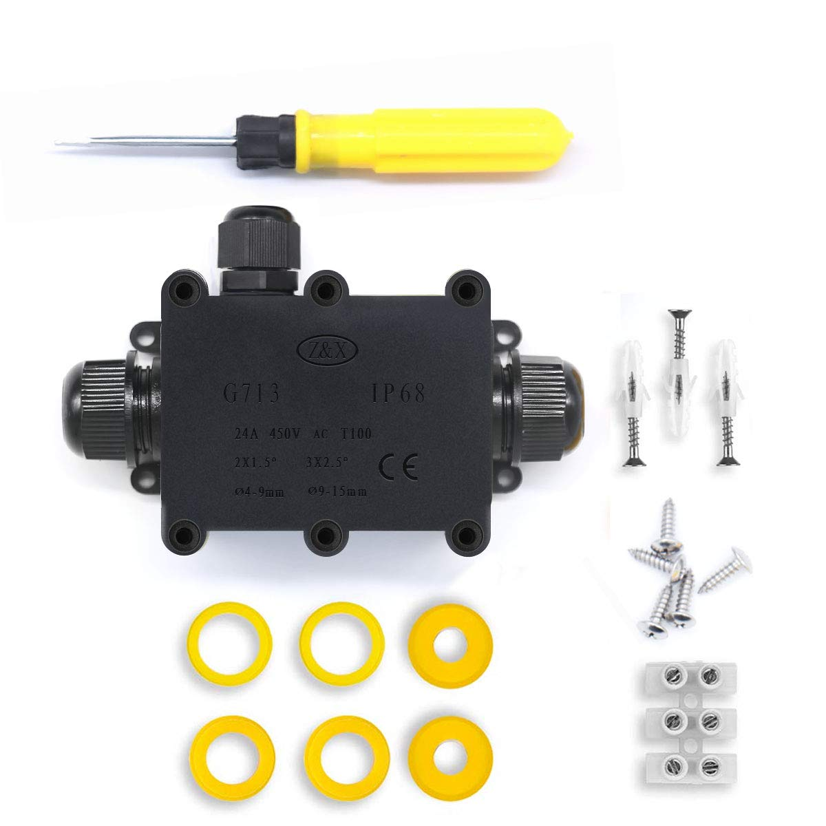 IP68 Waterproof Outdoor 3 Way Gland Electrical Junction Box Clear