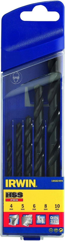 Argent Irwin 10502499 Coffret plastique 5 forets hss pro taill/és meul/és /ø 4 /à 10 mm