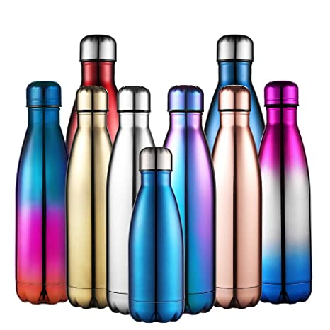 Anjoo Botella de Agua 500 ML, Deportes al Aire Libre Botella Agua Acero Inoxidable con Doble Pared Aislada al Vacío Botella, Aluminio Botella térmica ...