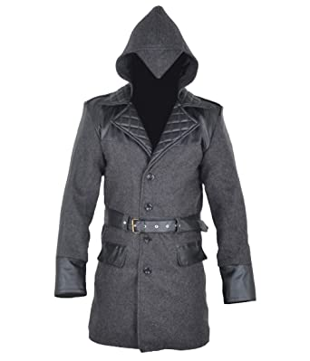 a094e5f5136 BillzDen Men s Assassins Quality Woollen Creed Jacket - Coat with Hoodie at Amazon  Men s Clothing store