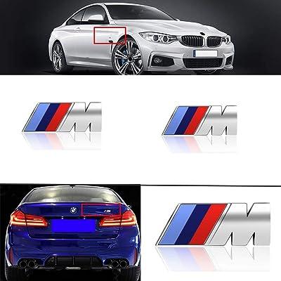 wesport 3pcs BMW M Power Badge Tri Color Rear Emblem Fender Side Emblem Car Decal Logo Sticker for All BMW Accessories (silver): Automotive [5Bkhe0403252]