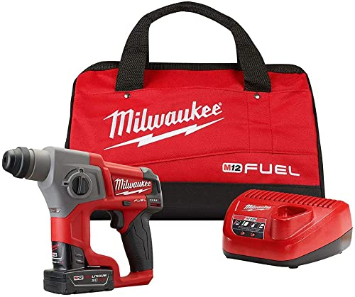 MILWAUKEE M12 FUEL 2416-21XC 12-Volt Cordless Lithium-Ion 4.0Ah 5 8 in. Brushless SDS-Plus Rotary Hammer Kit