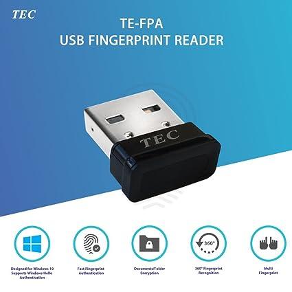 TEC Mini USB Fingerprint Reader for Windows 10 Hello, TE-FPA Bio-Metric  Fingerprint Scanner PC Dongle for Password-Free and File Encryption, 360°