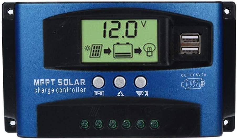 Fossrn MPPT Regulador de Carga 40A / 50A / 60A / 100A Regulador de Paneles solares Controlador de Carga de Inteligente 12V / 24V Auto Seguimiento de Enfoque (50A)