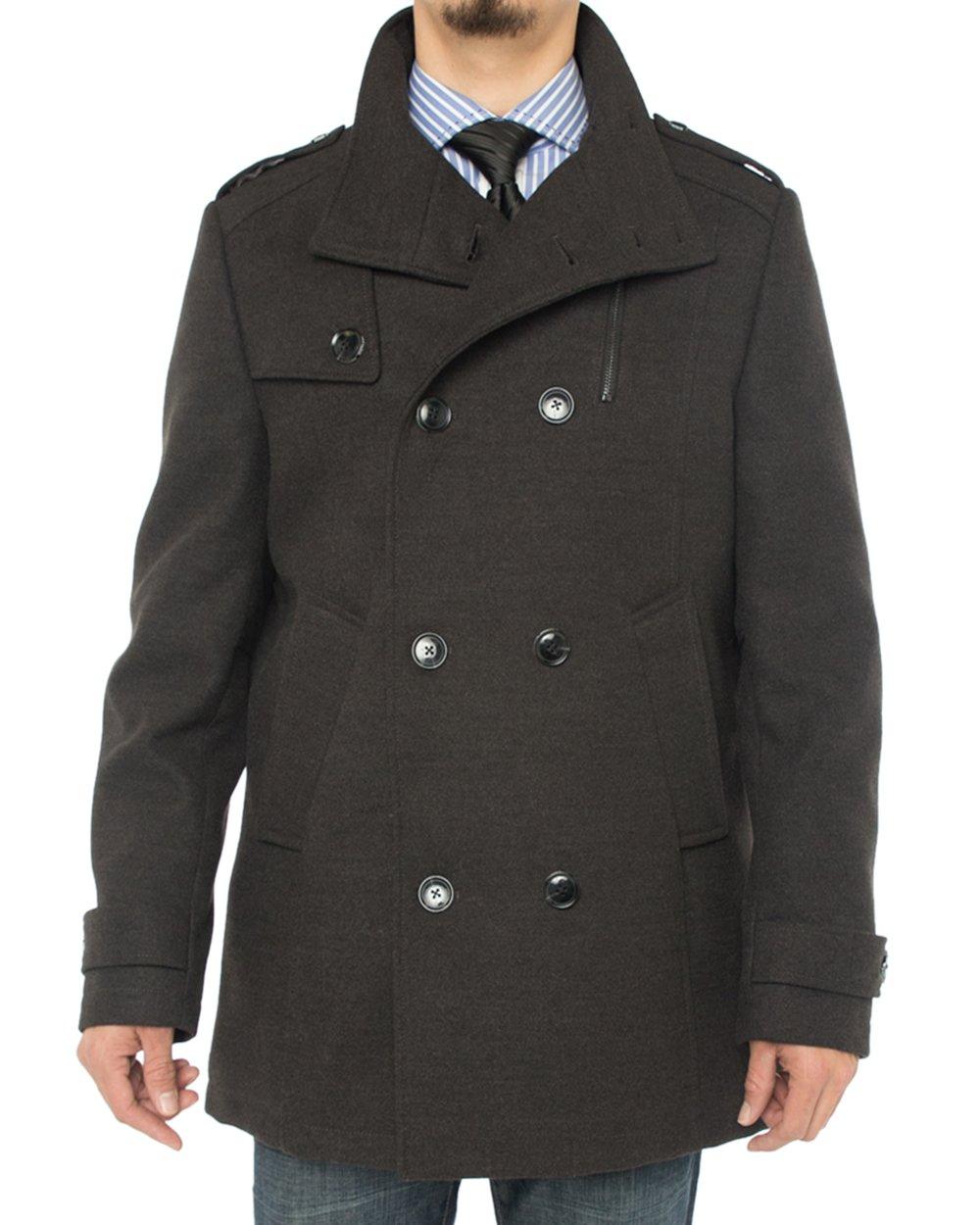 Luciano Natazzi Men's Stylish Top Coat Classic Double Breasted Pea Coat (44 US - 54 EU, Charcoal Gray)