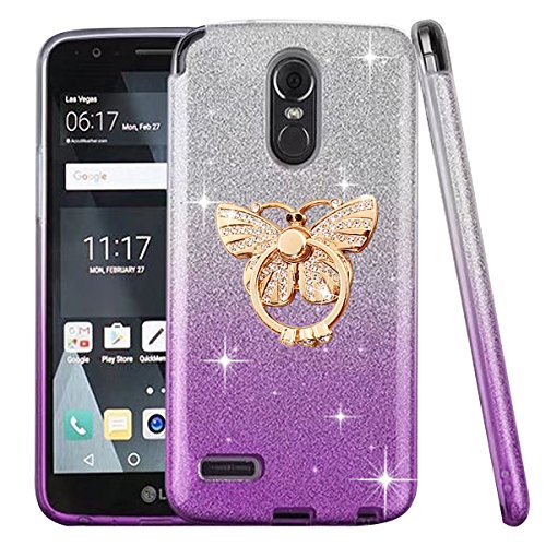 LG Stylo 3 Case, LG Stylo 3 Plus Case, ZHFLY Bling TPU Soft Glitter PC Hard Metal Ring Stand Cover Case For LG Stylo 3 / LG Stylo 3 Plus - Butterfly Gradient