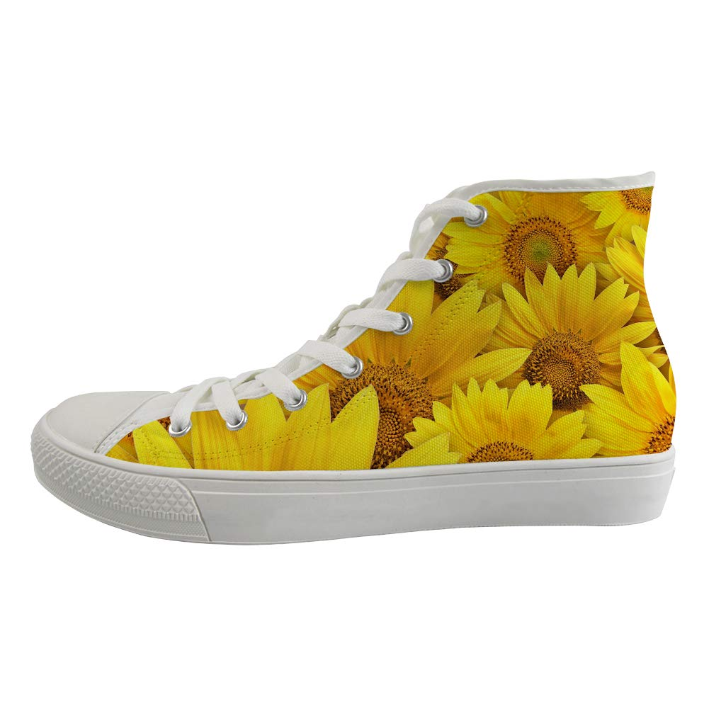 Unisex Casual High-Top Skate Shoes Classic Sneakers Adults Trainers Golden Kansas Sunflowers