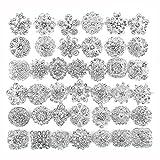 40 pcs Silver Rhinestone Brooches Set Crystal Wedding Invitation Brooch Bouquet Kit Wholesale Lot AMBR665