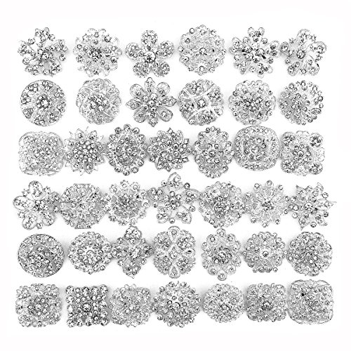 40 pcs Silver Rhinestone Brooches Set Crystal Wedding Invitation Brooch Bouquet Kit Wholesale Lot AMBR665 (Wholesale Rhinestone Pins)