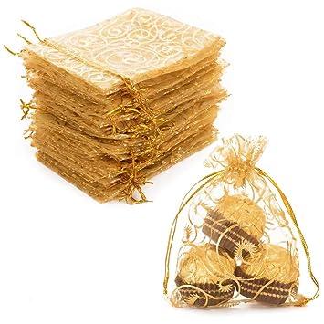 100 bolsas de organza con cordón para regalo de boda, fiesta ...