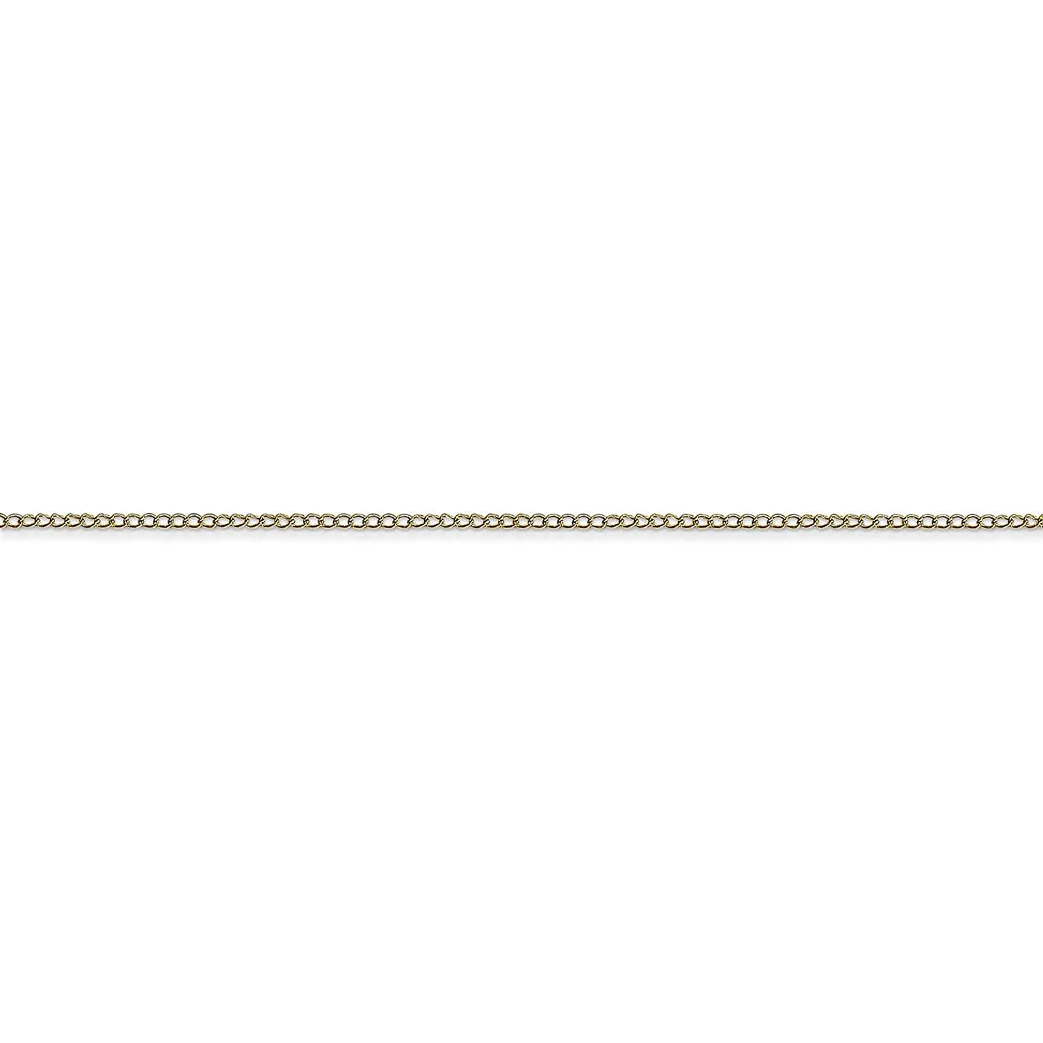 10k Yellow Gold Polished 0.5mm Carded Curb Link Rope Chain Necklace 16-24
