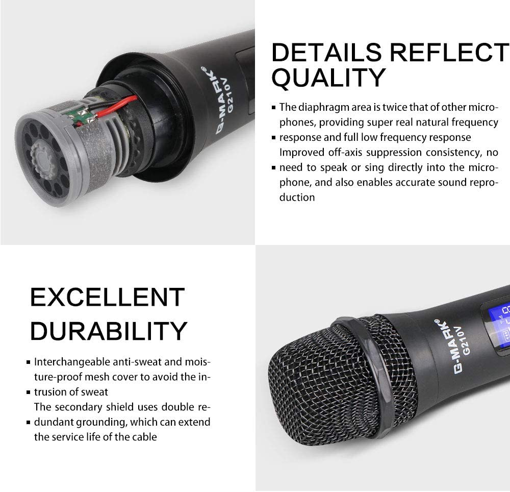 Amazon Com G Mark G210v Wireless Microphone Professional 2 Channel Karaoke Mic For Party Singing Church Show Home Electronics