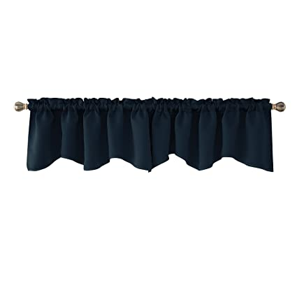 Deconovo Navy Blue Valances for Window Kitchen Valance Scalloped Valance  Blackout Valance Curtain 42x18 Inch 2 PCS