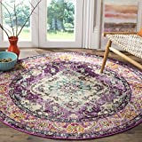 Safavieh Monaco Collection MNC243L Vintage Bohemian Violet and Light Blue Distressed Round Area Rug (5′ in Diameter) For Sale