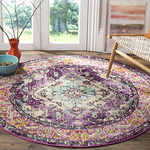 (Safavieh Monaco Collection MNC243L Vintage Bohemian Violet and Light Blue Distressed Round Area Rug (5' in)