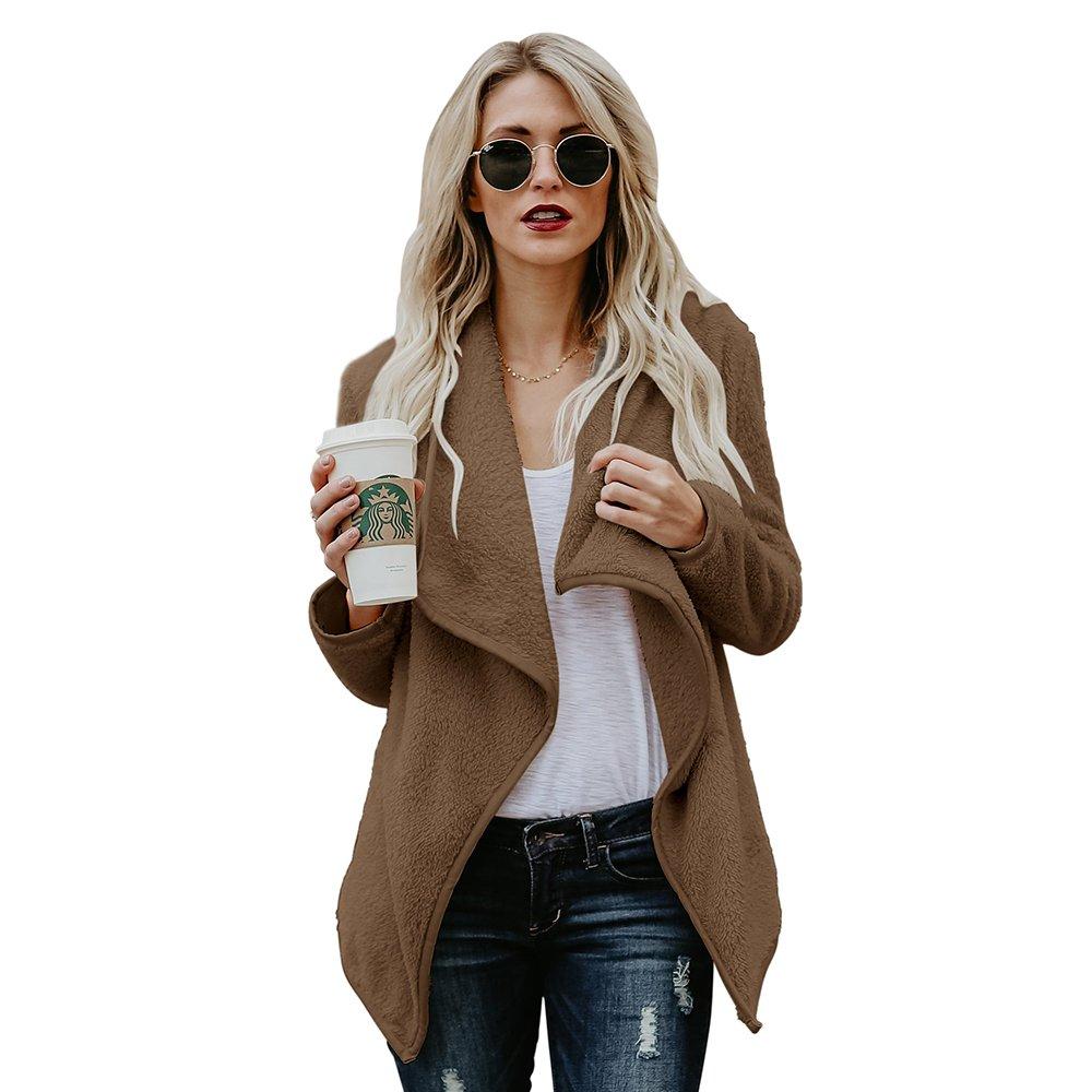 Clearance Sale Lapel Fuzzy Sweater for Women Warm Fluffy Fleece Cardigan Loose Open Front Coat Long Sleeve Outwear (Coffee, M)