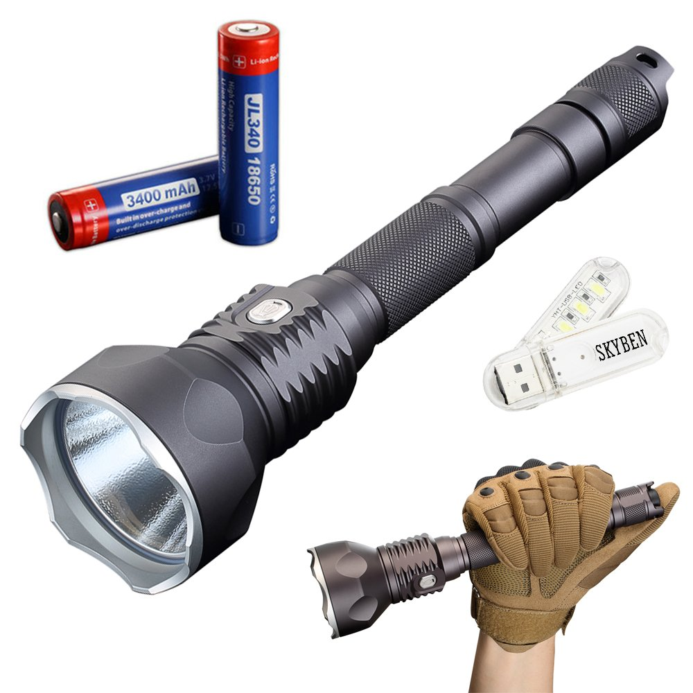 JETBeam WL-S4-GT 3300 Lumens Cree XHP70 LED Tactical Flashlight Dual Switch for Outdoor Searching Hiking and Hunting With 18650 Rechargeable Batteries With SKYBEN USB Light