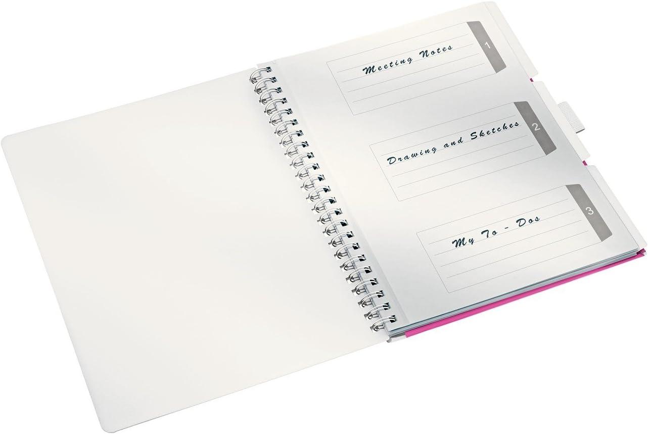 46440095 Spiralbindung Liniert 80 g//m2 Leitz Be Mobile Notizbuch in A4 Format mit 80 Blatt WOW Schwarz Elfenbeinfarbiges Papier