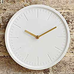 Beautiful Things Online Decorative Modern White Wall Clock – Ceramic Face – Metallic Gold Hands – Round 10 Inch – Silent Quartz Movement – Easy To Hang – Single AA Battery Powered