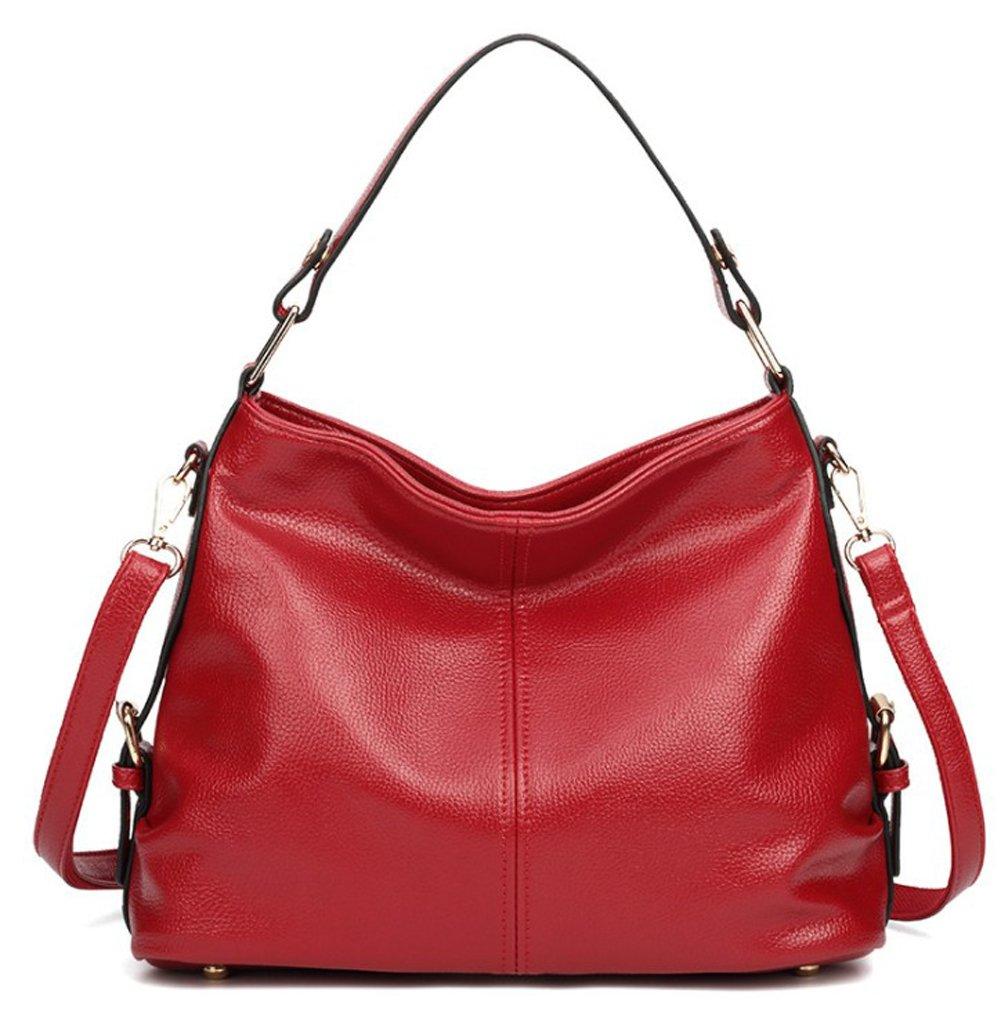 Women's Leather Hobo Handbag from Covelin, Durable Shoulder Bag Retro Purse Wine Red