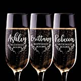 Bridal Party Gifts Bridesmaid Champagne Flutes Set of 6 or 3 | Personalized Champagne Glasses for Bridesmaids Gift - Bridesmaid Champagne Glasses #D20