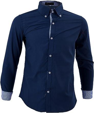 SODIAL Moda para hombre de lujo de manga larga casual delgado estilo camisas de vestido Azul oscuro - L