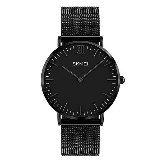 la moda ultra fino reloj de vestir banda reemplazable de acero inoxidable de malla negro reloj de pulsera de cuarzo de los hombres: Amazon.es: Relojes