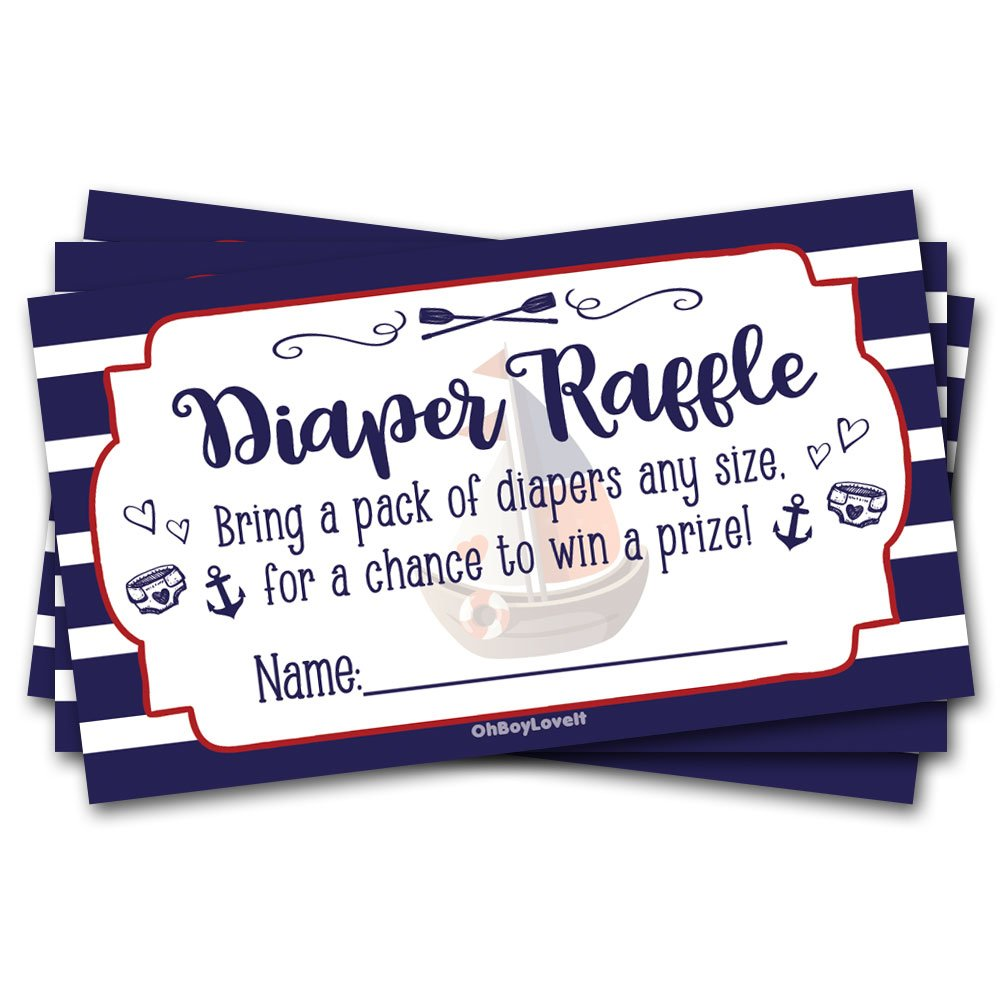 50 Diaper Raffle Tickets Nautical Baby Shower Theme - Gender Neutral Shower Game Activity Oh Boy Love It