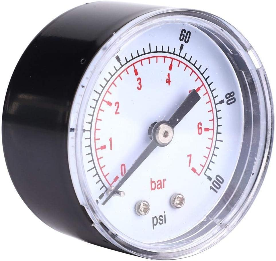 0-100PSI 0-7Bar Conkergo Pressure Gauge 50mm Dial 1//8 BSPT Back Connection for Air Water Oil Gas