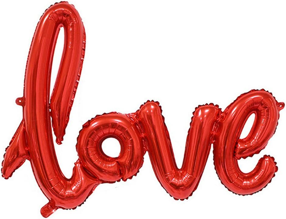 JUNGEN Foglio di Alluminio Palloncino Rosso Love Palloncino Decorativo per Matrimoni Feste di Addio al Nubilato 106 x 64 cm