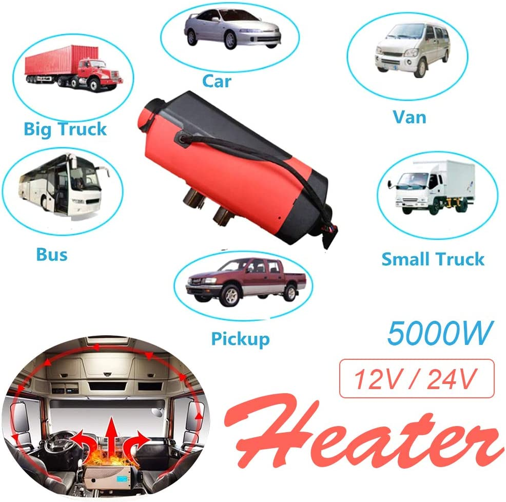 Boats Car Heater, 12V 5KW-Black Engineering Vehicle Bus 5KW 12V Diesel Parking Heater with LCD Thermostat /& Remote Control /& 10L Tank Heater for Truck RV Peitten Diesel Fuel Air Heater