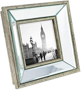 Isaac Jacobs 4x4 Silver Beveled Mirror Picture Frame - Classic Mirrored Frame with Deep Slanted Angle Made for Wall Décor Display, Photo Gallery and Wall Art (4x4, Silver)