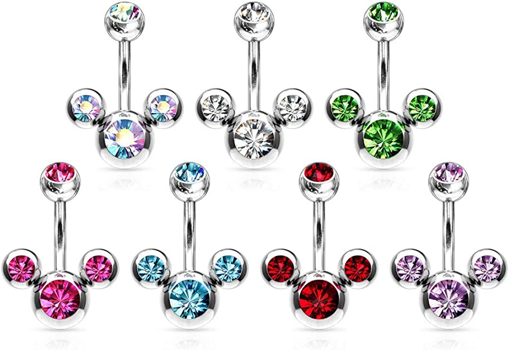 Covet Jewelry Triple Bubble Navel Ring 316L Surgical Steel