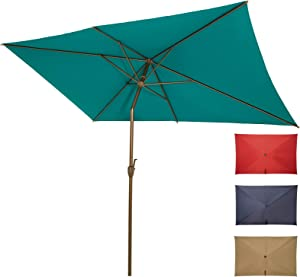 Ogrmar 6.5x10ft Patio Umbrella Rectangular Outdoor Table Umbrella with Crank & Push Button Tilt for Terrace, Backyard, Garden, Courtyard, Swimming Pool, Lawn (Turquoise)