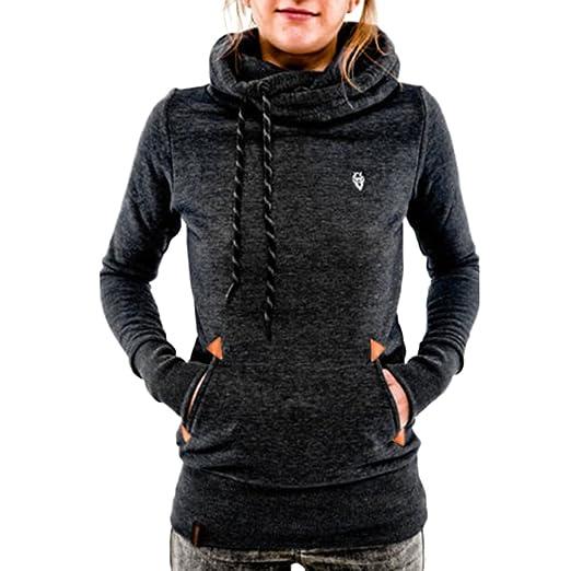 6543227f ZHU Women Long Sleeve Pocket Hoody Hoodie Hooded Sweatshirt Pullover Jumper  Coat Top Medium Black