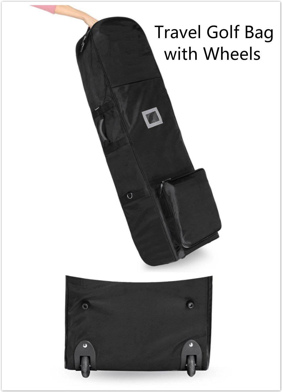 Benlet Folding Club Golf Bag With Wheels, Rolling Golf Travel Bag Cover, Black (US STOCK)