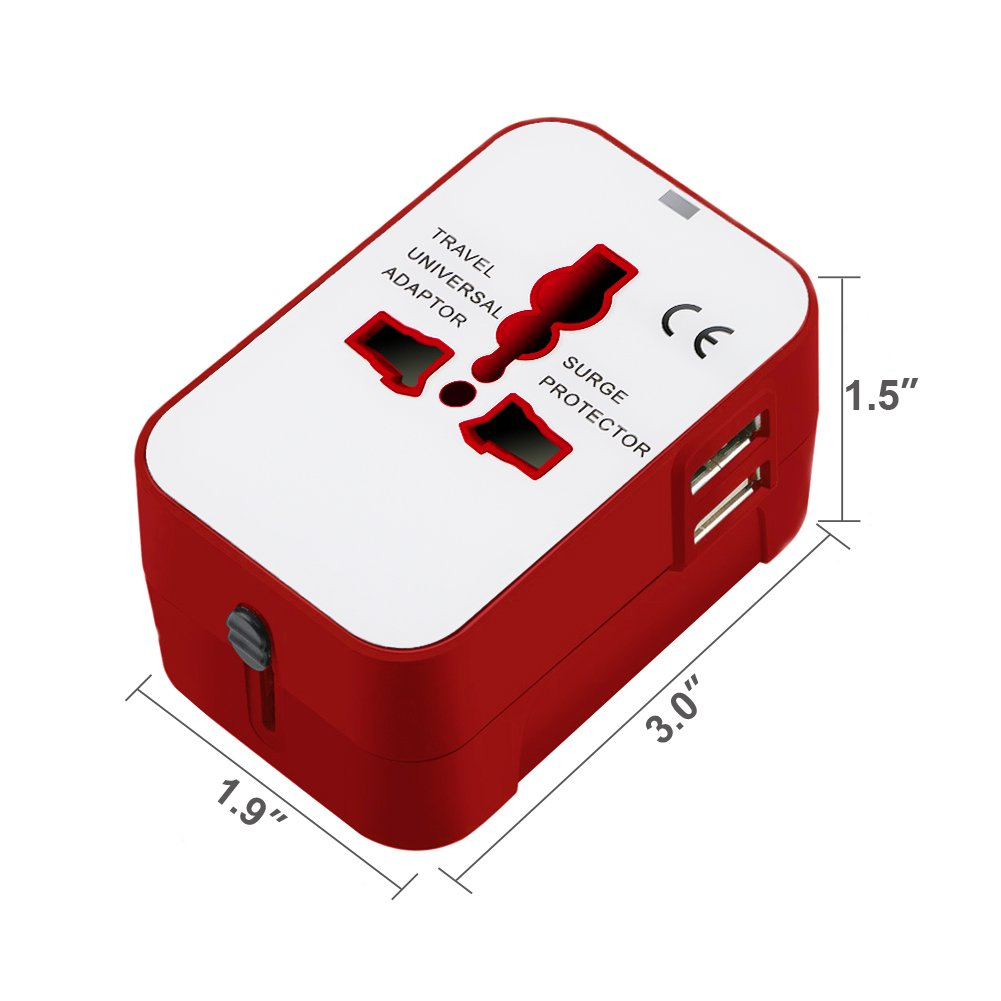 All in One International Universal Travel Adapter,Dual USB Charging Ports Converter for USA EU UK AUS European Compatible with Mobile Phone,Power Bank,Tablet,Laptop and Earphone. (Red) by LALAFO (Image #2)