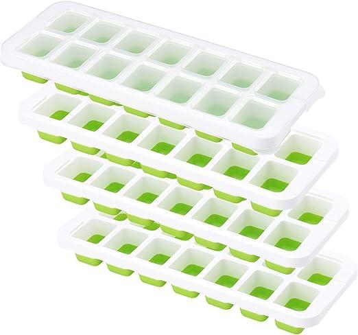 Bandeja de silicona para cubitos de hielo, 4 paquetes, con ...