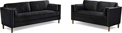 Loveseat and 3 Seater Sofa Couch Sofa Set of 2 with Wood Frame and Solid Legs for Living Room Bedroom Black Velvet
