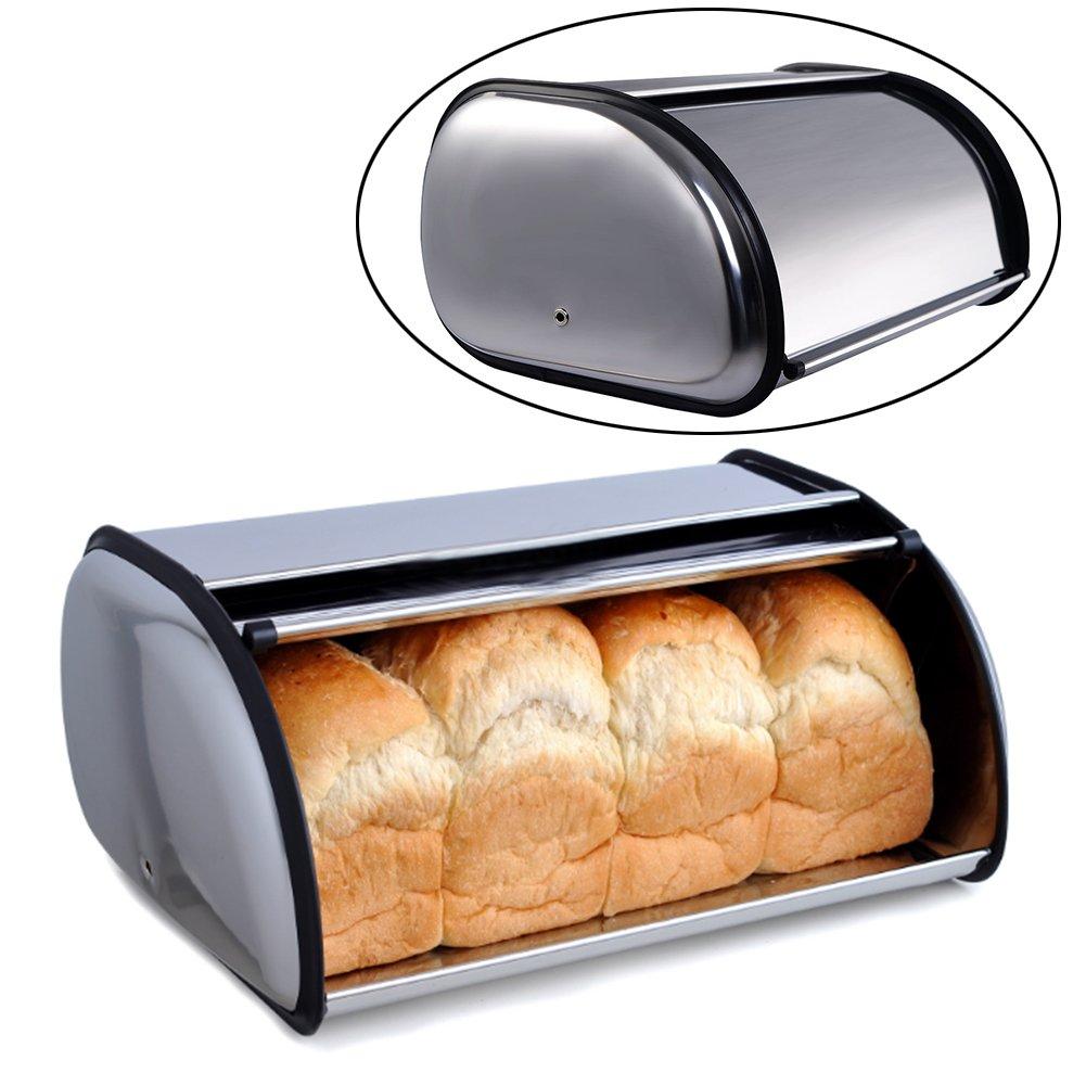 Roll Top Bread Bin, Stainless Steel Bread Box Storage for Kitchen, Bread Bin, Bread Storage Bread Holder(13) cyclamen9