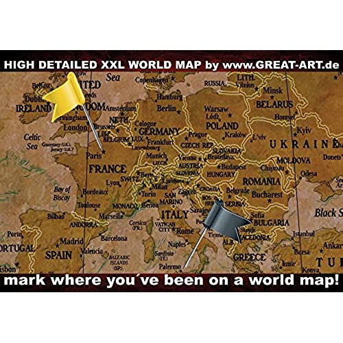 Highquality Historical World Map Poster XXL Wall Picture - High quality world map poster